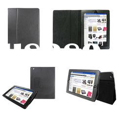 Black Leather Case /Pouch/Cover Flip Stand for The New iPad 3 and 2
