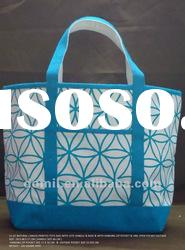 Blue printed natural canvas tote bag with jute base and handles DOM-2934