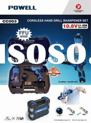 CC003 10.8v electric cordless drill with drill sharpener set comply with CUL CE GS FFU