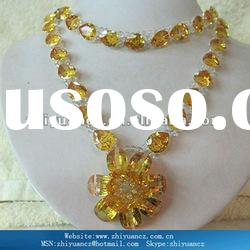 Cheap champagne Cubic zirconia fashion jewelry necklaces