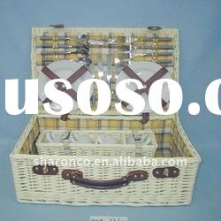 Cheap wicker picnic basket with 1 piece cup holder