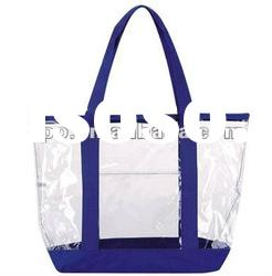 Clear ZIPPER PVC tote bag with color trim and bottom