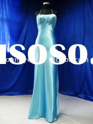 Custom-made slim A-line scoop neckline floor length satin evening dress designer(EVE90114)