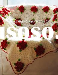 DD1005B Hand Crochet Baby Red flowers cotton fabric Soft Blankets Afghan Coverlet Milk Cotton