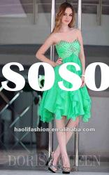 DORISQUEEN Strapless Knee Length Light Green Unique Party Dress Prom Gown