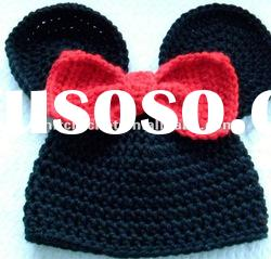 Direct Factory Fashion Hand Knitted Crochet Animal Beanie Hat with Bow for All Ages KCC-TM00105