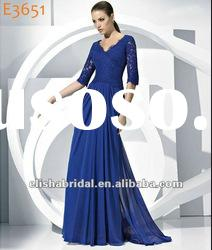 Elegant Royal Blue V-neckline Half Sleeve Lace Flowing Chiffon Dress 2012