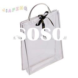 Exquisite Design Metal Support Clear PVC Packing Bag with Ribbon Closure