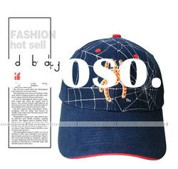 Factory 100% cotton blue spider embroidered cap with led light