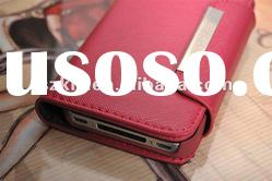 Genuine Leather Case for iphone 4G 4S with wallet Wholesale price!