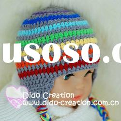 H05C062A Hand Crochet Baby Hat cap Rainbow Beanie flower gift for baby born cotton