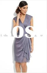 HLB0083 Latest style chiffon sleeveless knee length bridesmaid dresses