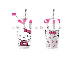 Hello kitty plastic cup with lids and straw