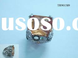 Inspired 925 sterling silver rings with orange CZ stone TR901589.