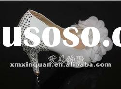 JSS061 new style crystal heel open toe summer white bridal lace wedding shoes