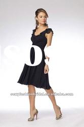 Jewel A-line ruffle on corset waist knee length black bridesmaid dresses