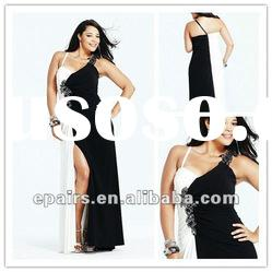 LED245 Plus Size Black and White Beaded Side Split Floor Length Pageant Evening Dress Patterns