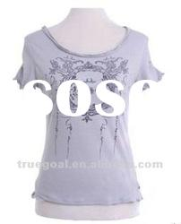 Ladies' printing 100% cotton T-shirt
