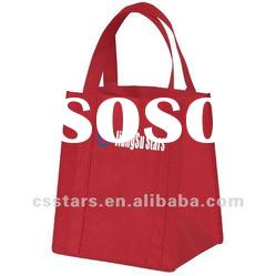 Large red tote shopping bag, Non-woven polypropylene