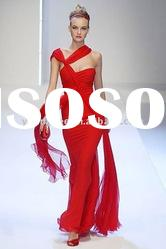 Latest designer red halter sheath elegant chiffon evening dresses long 2011