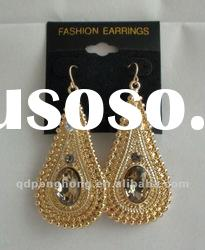 Latest gold earrings 2012 new design alloy cheap earring gold plated fancy design gold earring