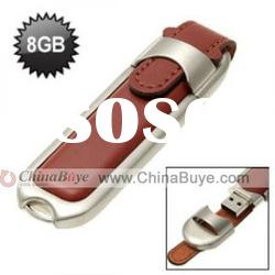 Leather Alloy 8GB USB Flash Memory Pen Drive Memory Stick