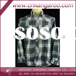 Men's 100%cotton plaids shirts with long sleeve
