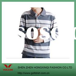 Muti color long sleeve striped polo for men