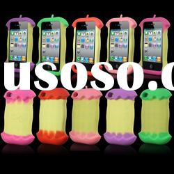 New 3D Apple Cute Silicone Soft Back Case Cover Skin for Apple iPhone 4 4G 4S