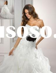 New Style Lace Applique Tulle Pick Up Ball Gown Bridal Dress