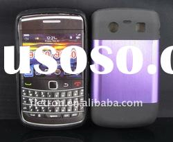 New design ! Purple Metal Aluminum Surface+Silicone Shiny Back Case For Blackberry Bold 9700/9020