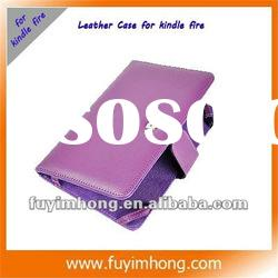 Newest Classic Style Purple color PU Leather Case with pocket For Amazon Kindle Fire