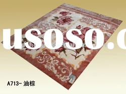 Oily Brown High quality World class Design Mink Bedding flower 100% polyester printed blanket