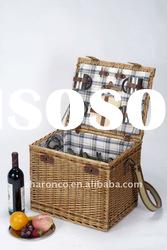 Popular picnic basket from willow with strip pattern fabric covering
