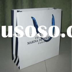 Printed stripe paper bag with rope handle