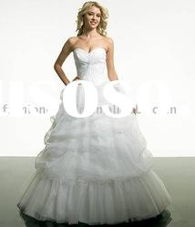 SAN018 Strapless Appliques ruffle tulle floor-length Prom Dress