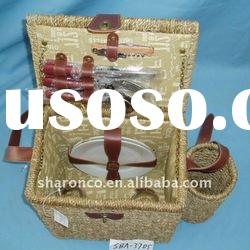 Seagrass wicker picnic basket for 2 persons