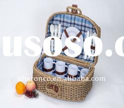 Seagrass wicker picnic basket for 4 persons