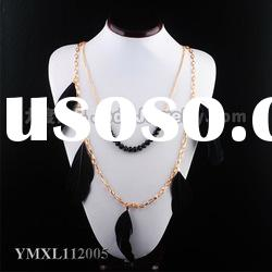 The latest fashion costume promotions black feather gold chain handmade necklace
