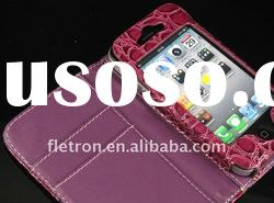 Wallet Croco Leather Case with Card Holder For iPhone 4 4G 4S