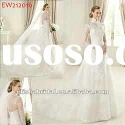 White Princess Slim A-line High Neck Scalloped-Edge Floor length Long Sleeve Lace Wedding Dresses