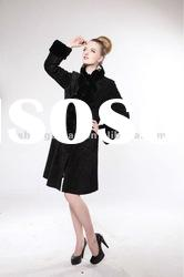 Women Long Leather Coat with Rex Rabbit Fur Collar #A-01-1