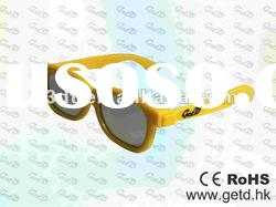 Yellow 3D TV Plastic Circular polarized 3D glasses
