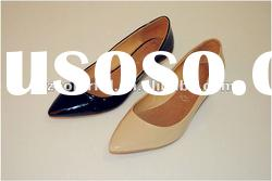 black patent pu shoes lady low heel shoes fashion lady shoes