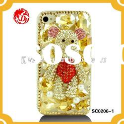 bling crystal diamond phone case with cartoon bear alloy accessories for iPHONE4 cover