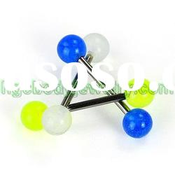 body jewelry- tongue barbell ring with glow in dark ball