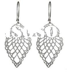 chic silver plated hollow out leaf shape dangle earrings