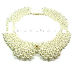 choker art deco hand made linked multi circles imitation pearl collar necklace
