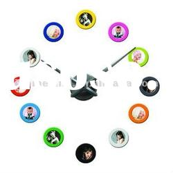 colorful DIY photo frame wall clock for home decoration