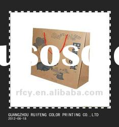 custom eco friendly kraft paper gift bags with red cotton rope and printing service